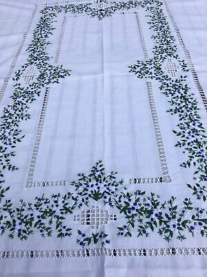 """Vtg.White Hand Embroidered With Beautiful Crewel &French Knots Tablecloth 77""""X52"""