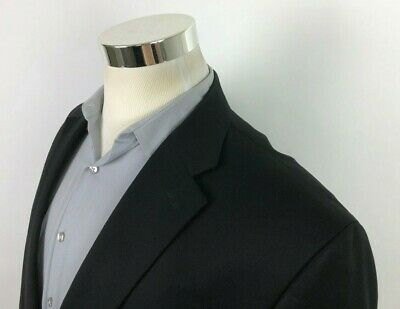 Chaps Ralph Lauren Mens 46 L Black 2 Button Sport Coat Wool Blazer Jacket