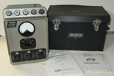 Biddle / Megger 63220 0.01 to 9,990 Ohms, 4 Ranges Earth Tester, Case & Manual