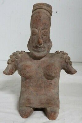 JALISCO Seated Female CLAY Figure,STATUE, Precolumbian STYLE, Colima LARGE