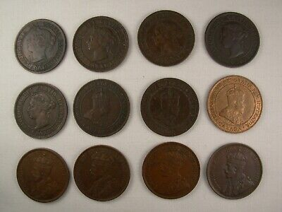 12 Higher Grade Canadian Large Cents Pennies - Different Dates