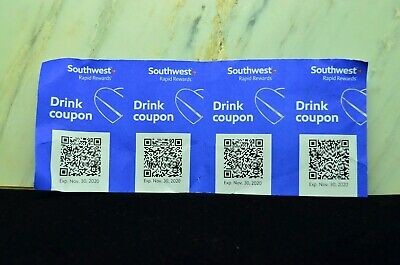 Four (4) SOUTHWEST Drink Coupons / EXPIRE 11/31/2020