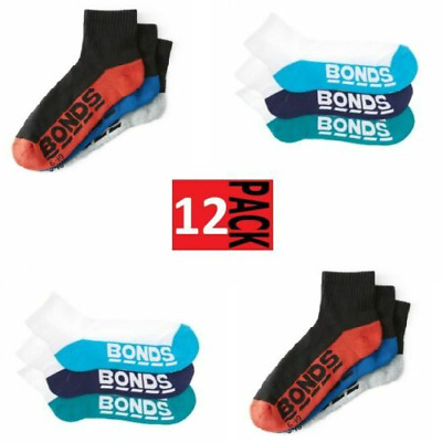 12 x BONDS QUARTER CREW SOCKS Mens Sport Running Gym Sock Black White RRP $71.80