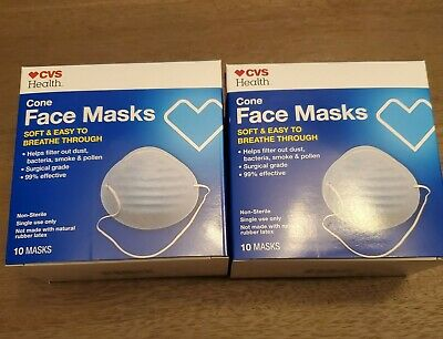 CVS Cone Face Mask For Flu Bacteria 20 Mask