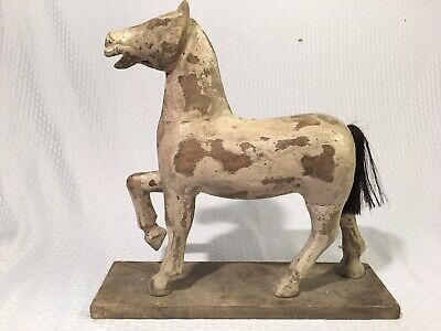 "Antique 17"" Folk Art Hand Carved Painted Wooden Horse Sculpture Carving"