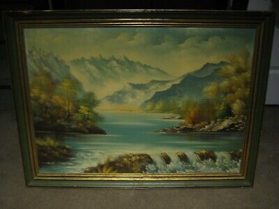 Large Original Antique Painting Oil on Canvas Signed by Artist Levy