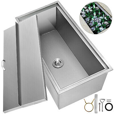 92 X 46 X 36 CM Drop In Ice Chest Bin + Drain Outdoor/Indoor Insulated Wall