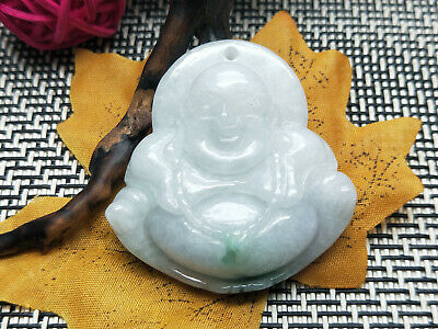 5A Delicate Chinese Hand-carved wearing Jadeite jade Rosary Buddha pendant