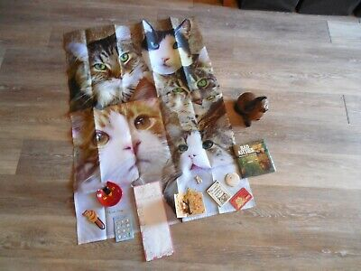 Cat Lover Lot Banner Flag~Craved Wood Cat~Books.Magnets.Glass Dish Valentines