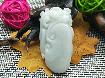 100% Chinese Delicate and natural Hand-carved Jadeite jade pendant ruyi beast
