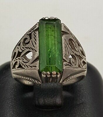 Very Beautiful Condition Green Tourmaline Stone Antique Silver Soild Old Ring