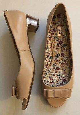 Leather Blush Nude Peep Toe Court Shoes Rose Gold Heel Bow Detail Size 9/43 Next