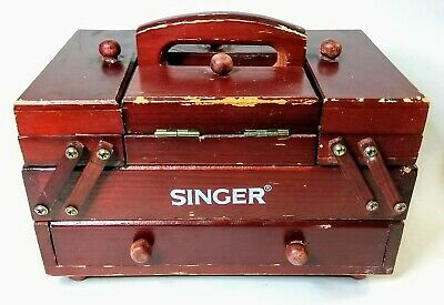 Singer Salesman Vintage Miniature Accordion Style Wooden Sewing Box Organizer
