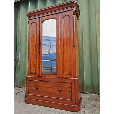 Antique Vintage Boho Traditional Victorian Mahogany Single Hall Wardrobe