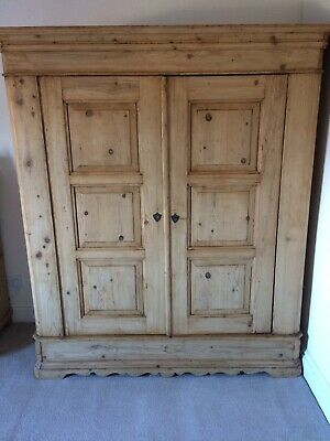 A Panelled Large Antique/Old Pine 2 Door Knockdown Wardrobe to Paint/Wax