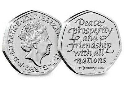 ENGLAND 50 Pence 2020  - BREXIT - Peace, Prosperity & Friendship all Nations