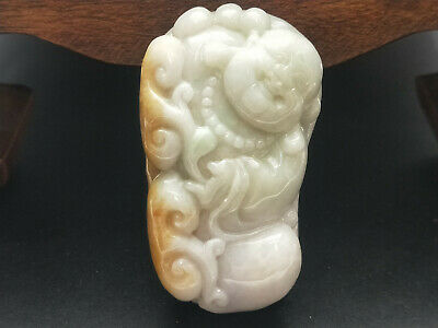 Chinese Delicate and natural Hand-carved Jadeite jade pendant Laughing Buddha