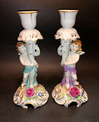 Pair Of Dresden Porcelain Figural Candlesticks