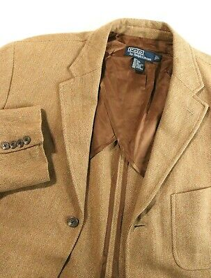 Polo Ralph Lauren Herringbone Brown Tan Wool Silk Blazer Coat Jacket EUC Mens L