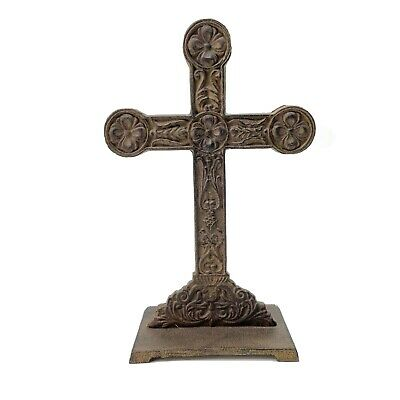 "Vintage Cast Iron Cross 12"" Rustic Decorative Standing Pedestal Church Art EUC"