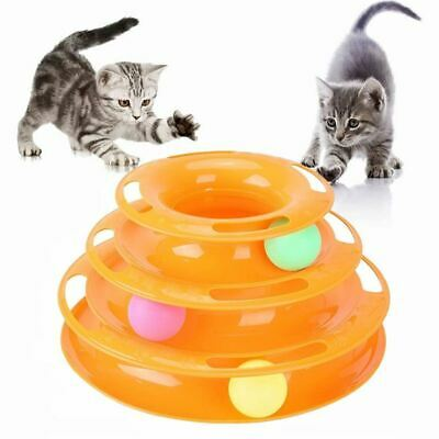 Pet Cat Kitten Toy Track Ball Tower Board Interactive Training Catch Toys uk