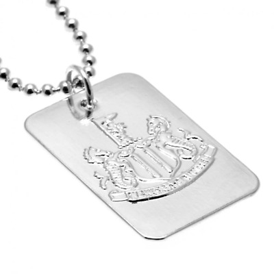 Newcastle United FC Silver Plated Dog Tag and Chain | OFFICIAL