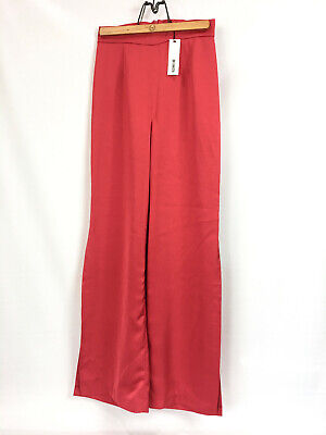 NWT BB Dakota Womens 6 Palazzo Pants Bright Red High Rise Wide Leg Side Slit $99