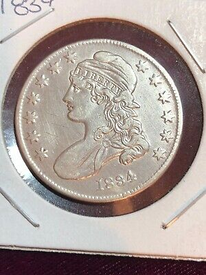 1834 Capped Bust Half Dollar 50c High Grade Choice AU - UNC very nice piece