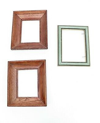 """Vintage Wood Frame Lot Of 3 Rustic Frames 5"""" x 4"""" Matching Painted 5"""" x 7"""""""