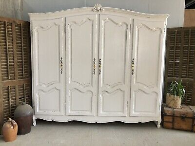 Vintage French Armoire/4 Door French Wardrobe / Painted Shabby chic style