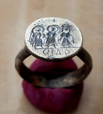 Byzantine wedding silver ring, depicting Christ uniting the bride and groom
