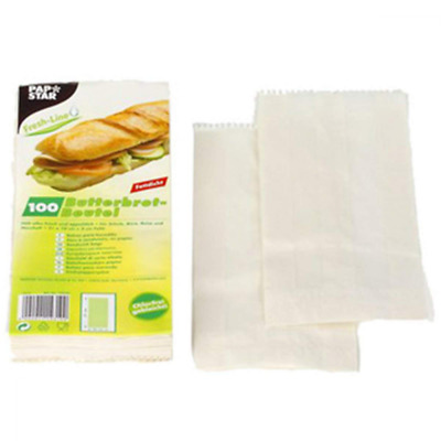 Papstar 14310 Sandwich Bags 21x10x3 cm White Paper Pack of 100