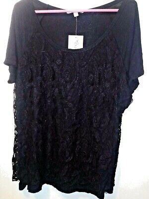 NWT Extra Touch Plus Women's Sleeve Solid Black Lace Top Blouse 2X, 18W/20W