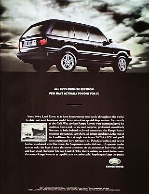 """2001 Range Rover """"Fought For Freedom Since 1948"""" PHOTO PRINT AD 2002 4.6 HSE"""