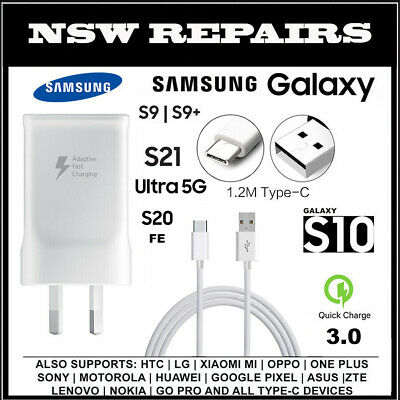 Genuine Samsung AC Wall Adapter Fast Charger USB C Type-C S8/S9/S10/Note 8/9/10