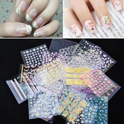 10 Sheets MTSSII Nail Art Decals Flower Design 3D Stickers Decor Manicure Tips