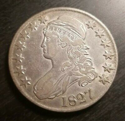 XF+/AU- 1827 Capped Bust Half Dollar STRONG EYE APPEAL!