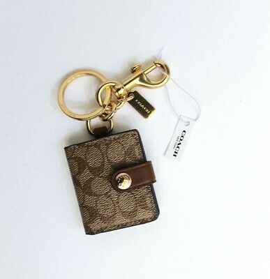 Coach Signature Canvas Picture Frame Key Ring Key Chain Bag Charm