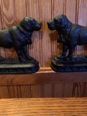 Rare Two large Antique Cast Iron St. Bernard Bookends Saint Bernard Doorstop