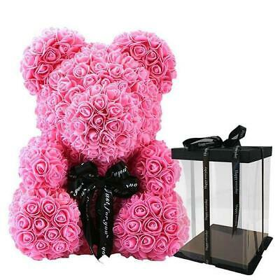 Weihnachtsgeschenk Rose Bear Flower Wedding Party Love Teddy 40cm Box Grau