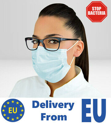50 Flu Virus Medical Mask 3PLY Surgical Face Allergy Smog Dust Masks Earloop