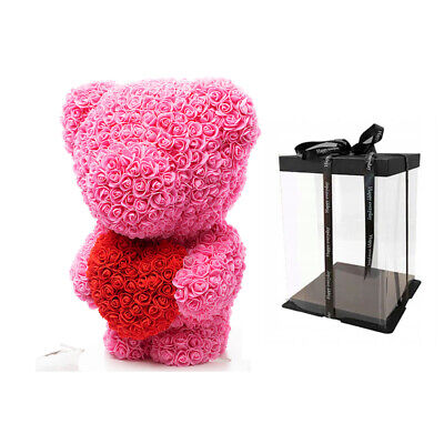 Weihnachtsgeschenk Rose Bear Flower Wedding Party Love Teddy 60cm Box Pink Herz