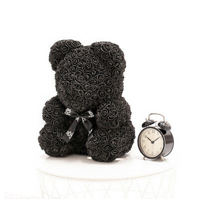 Weihnachtsgeschenk Rose Bear Flower Wedding Party Love Teddy 40cm Schwarz