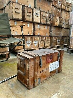 Wooden Army Ammunition Box Weathered - Military Re-enactment Willys Jeep Vintage