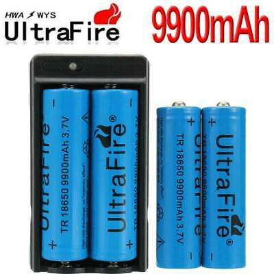 UltraFire 18650 Battery 9900mAh 3.7V Li-ion Rechargeable Batteries +Charger Set-