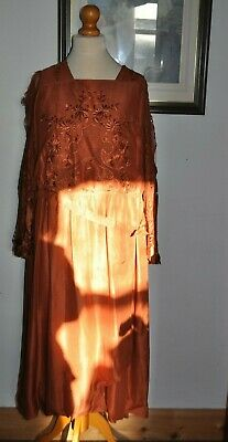 Authentic Antique Art Nouveau/Artdeco Silk and Lace Embroidered Copper Dress