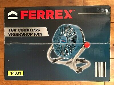 New Ferrex 18v Cordless Fan 14031 With 2 Batteries And Charger