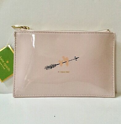 Authentic New Kate Spade New York Two Hearts Bridal Pencil Pouch Set in Blush