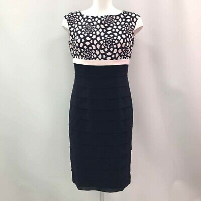 NEW CONDICI Pale Pink Navy Blue Ruched Short Sleeve Dress Jacket Size 10 450708