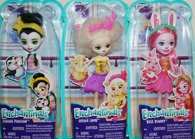 BREE BUNNY MATTEL ENCHANTIMALS DOLLS LOT OF 3 FELICITY FOX NIB PEEKI PARROT